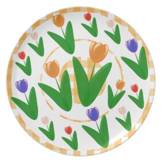 Orange Tulips Floral Pattern Dinner Plates