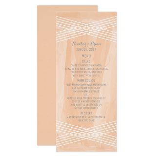 Orange Watercolor Deco Wedding Menu Card