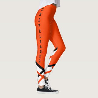 Orange, White and Black Cheerleader Leggings