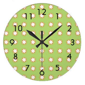 Orange & White Apple Blossoms Clocks