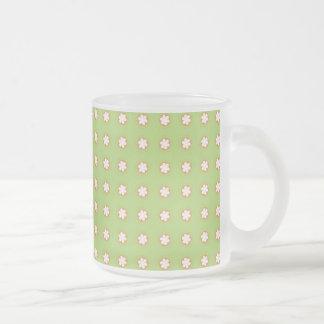 Orange & White Apple Blossoms Frosted Glass Mug