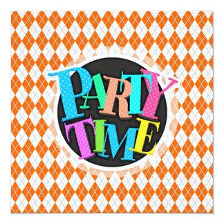 Orange & White Argyle 13 Cm X 13 Cm Square Invitation Card