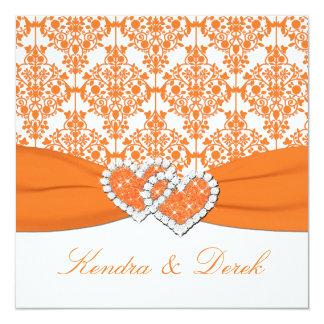 Orange White Damask Couples Shower Invitation