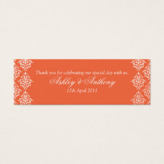 Orange White Damask Floral Wedding Favour Tags Mini Business Card