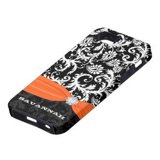 Orange &  White Damask Printed Faux Rhinestone iPhone 5 Cases