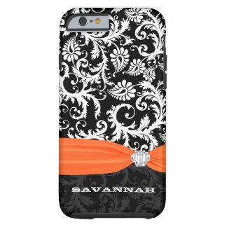 Orange & White Damask Printed Faux Rhinestone Tough iPhone 6 Case