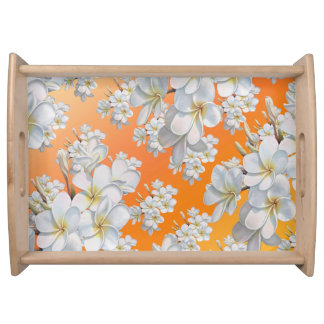 Orange & White Flower Abstract flower Tray Serving Trays