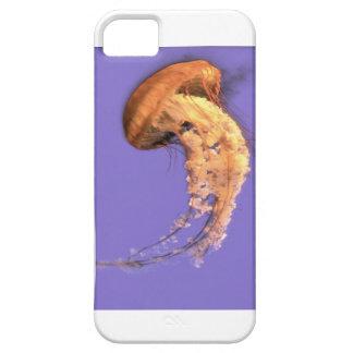 Orange & white jellyfish on purple background iPhone 5 cover