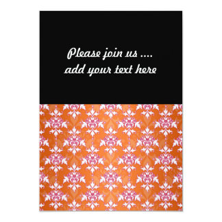 Orange White Pink Damask Pattern 13 Cm X 18 Cm Invitation Card