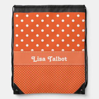 Orange & White Polka Dot Backpack