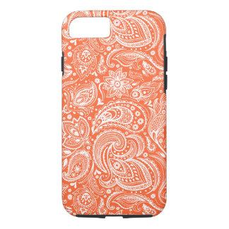 Orange & White Retro Paisley Damasks Lace iPhone 8/7 Case