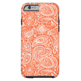 Orange & White Retro Paisley Damasks Lace Tough iPhone 6 Case