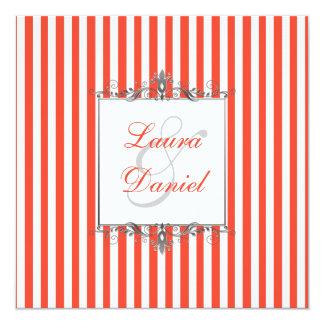 """Orange, White, Silver Gray Stripes Scrolls Invite 5.25"""" Square Invitation Card"""