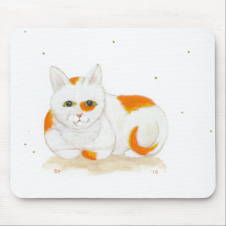 Orange & white spotted cat cute fun painting art mouse pad