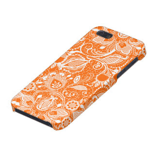 Orange & White Vintage Floral Lace iPhone 5/5S Covers