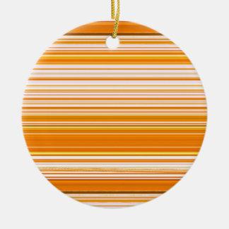Orange White Yellow Pink Stripe Pattern Round Ceramic Decoration