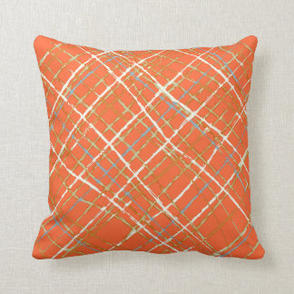 Orange with a touch of blue Plaid Design Pillow Cushion