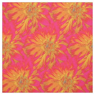 Orange with Pink Background Dahlia Fabric