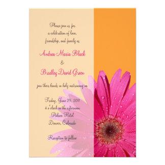 Orange with Pink Gerbera Daisy Wedding Invitation