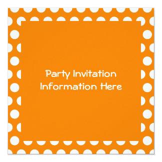 Orange with White Polka Dots 13 Cm X 13 Cm Square Invitation Card