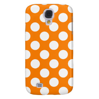 Orange with White Polka Dots Samsung Galaxy S4 Cases
