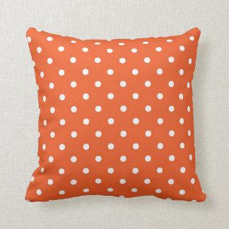 Orange with White Polka Dots Throw Pillow