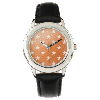 Orange With White Stars Watch