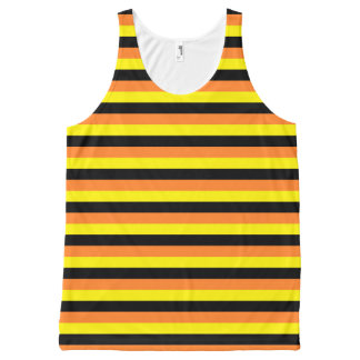 Orange, Yellow and Black Stripes All-Over Print Tank Top
