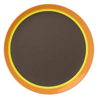 Orange Yellow and Dark Brown Plate