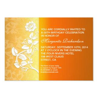 orange yellow birthday party 13 cm x 18 cm invitation card