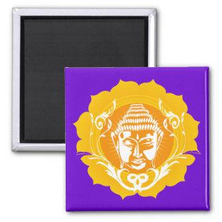 Orange & Yellow Buddha Square Magnet