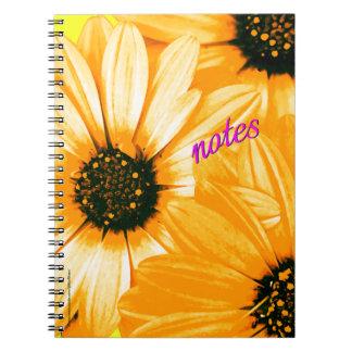 Orange/Yellow Daisies, notes - Spiral Notebook