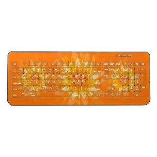 Orange Yellow FLowers Wireless Keyboard