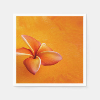 Orange Yellow Plumeria Flower Orange Background Disposable Serviette