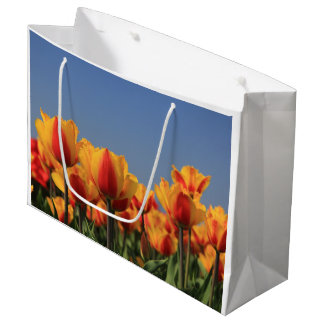 Orange yellow tulips by Thespringgarden Large Gift Bag