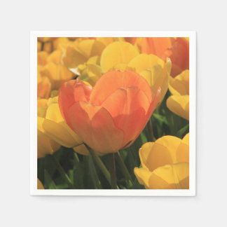 Orange yellow tulips by Thespringgarden Paper Serviettes