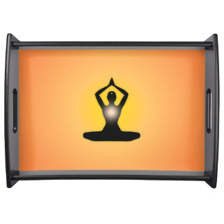 Orange Zen Meditation Sunburst Serving Tray