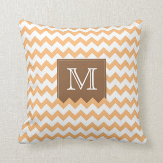 Orange Zig Zag Pattern & brown monogram box Cushion