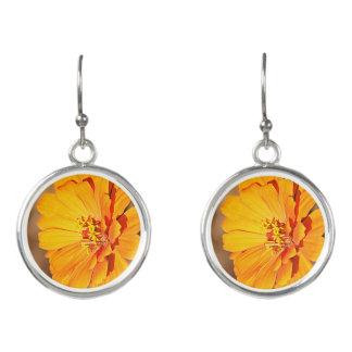 Orange Zinnia Flower Earrings