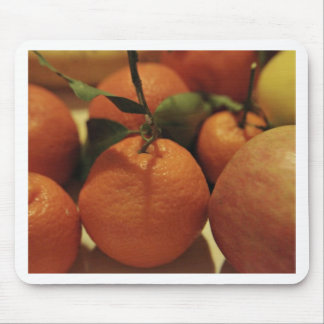Oranges apples fruit on a table mousepads