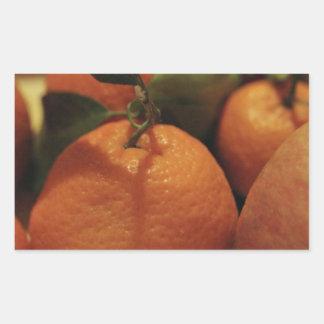 Oranges apples fruit on a table rectangular sticker
