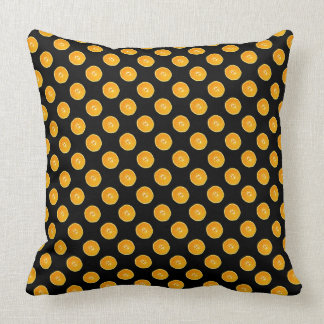 Oranges with black background throw pillows