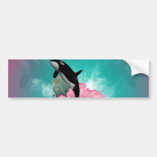 Orca jumping out of a flower bumper stickers
