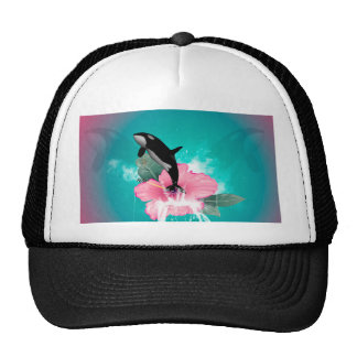 Orca jumping out of a flower hat