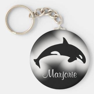 Orca Killer Whale Black and White Name Key Ring