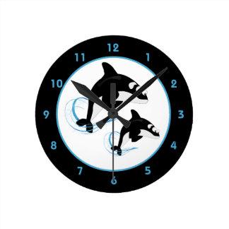 Orca Killer Whale Round Clocks