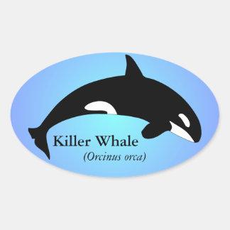 Orca Killer Whale Gradient Blue Oval Sticker