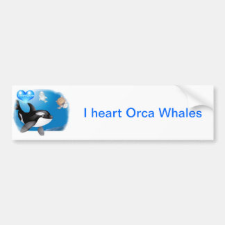 Orca (Killer Whale) I heart designs Car Bumper Sticker