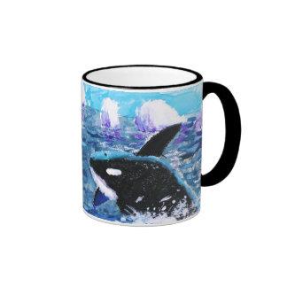 Orca Killer Whale Painting Ringer Mug