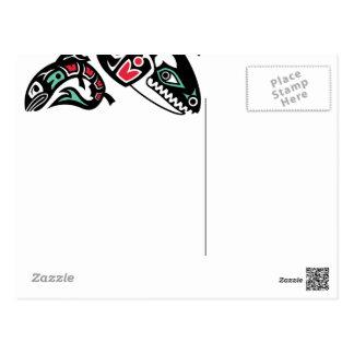Orca Killer Whale & Salmon - Haida color graphic Postcards